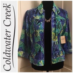 COLDWATER CREEK Zip Up Top 3/4 Sleeve SZ 8 Petite